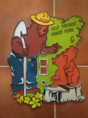 Smokey The Bear Decorative Face Plate For Childrens Room Rare! 9 X 5