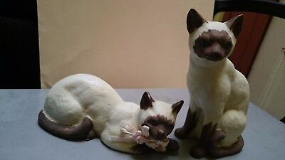 Two Ceramic Hand Painted Large White And Brown Cats.
