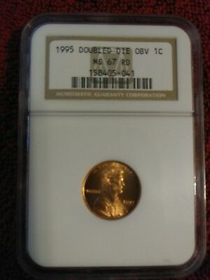 1995 1C Doubled Die Obverse RD Lincoln Cent. Graded MS 67 Red by NGC