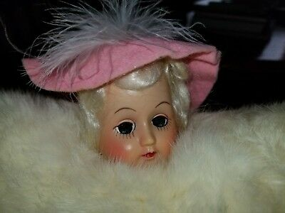 VINTAGE 50's REAL RABBIT FUR  CHILD'S MUFF WITH CELLULOID DOLL COIN PURSE