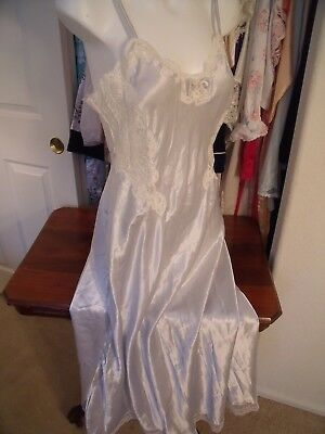 CHRISTIAN DIOR long silver grey shiny nightgown large made USA poly