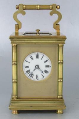 STUNNING ANTIQUE CARRIAGE CLOCK strike repeater BAMBOO INFLUENCED CASE