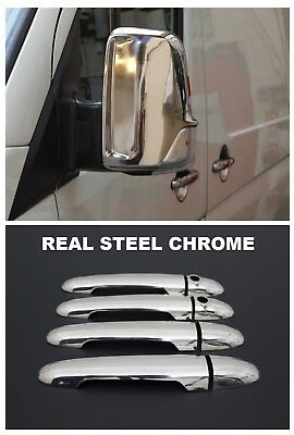 VW Crafter Chrome Mirror Cover +Door Handle Covers 2006 Onwards Stainless Steel
