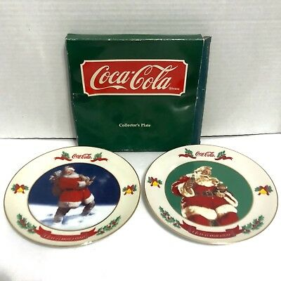 Vtg COKE Coca-Cola Santa Collection Plates 1990 1991 W Box Lot Of 2 Vintage Rare