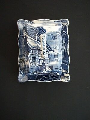 James Kent China   Old Foley Blue Transferware  Covered Butter Dish