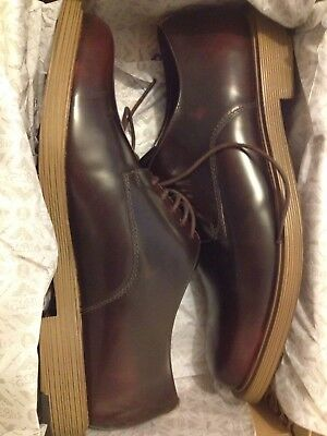 CLARKS Size 12 Feren Lace Classic leather lace-up shoes, dark Brown, new