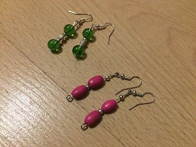 Earrings pink and green