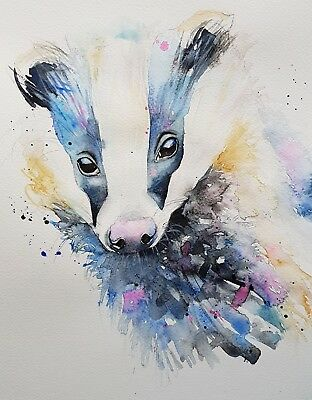 """ELLE SMITH ART. NEW ORIGINAL SIGNED ART WATERCOLOUR PAINTING.16x12"""" """"A BADGER"""""""