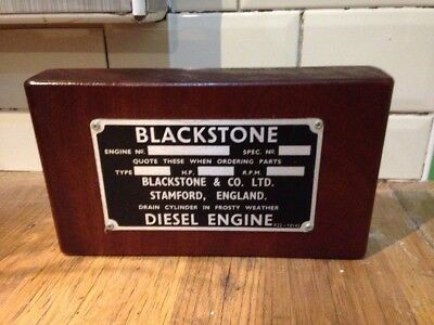 Unused Blackstone Diesel Engine Plate Mounted To A Wooden Plinth Ideal Man Cave
