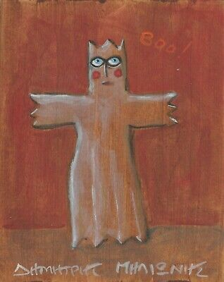 "My Ghost ""BOO !"" Small Acrylic Painting Signed Greek 2002"