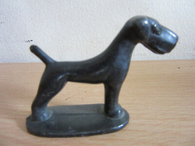 Antique Art Deco small German Bronze Airedale Dog figurine