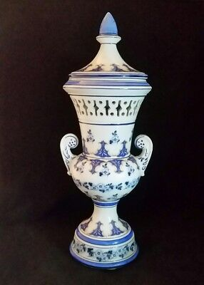 VTG Blue White Vase Potpourri Urn Lid Handles Reticulated Porcelain sign MTC 16""