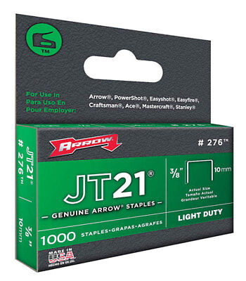 "Arrow 276 JT21 Staples 3/8"" 10mm, 1000 Pack, Fits Stanley TR45"