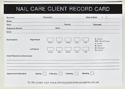 SALON - THERAPIST Nail Care Client Record Card (Extra value 200 pack) A5 Size