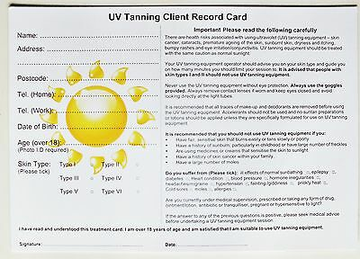SALON - THERAPIST UV Tanning Client Record Card (50 pack) A5 Size