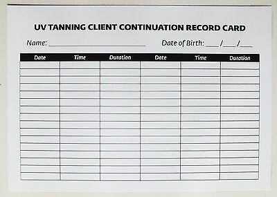 SALON-THERAPIST UV Tanning Treatment Client Continuation Record Card (200 pk) A5