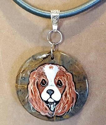NATURAL STONE ROUND PENDANT-Hand Painted Cavalier King Charles Spaniel