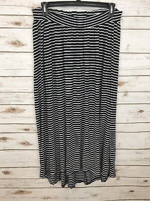 Liz Lange Maternity Maxi Skirt Navy & White Striped Womens Size Medium