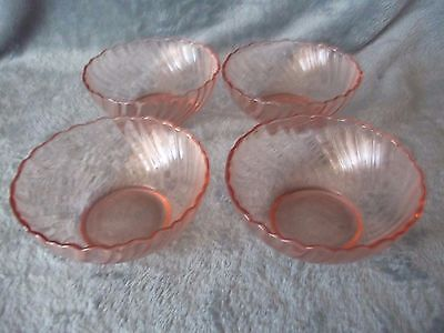 Arcoroc Rosaline Pink Swirl Cereal Soup Bowls  Dishes France Set Of 4 Euc