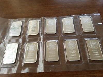 Lot Of Ten One Ounce Silver Bars/ Sunshine Mint
