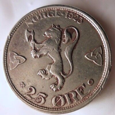 1923 NORWAY 25 ORE - Huge Value - Key Coin - Scarce - Lot #D17