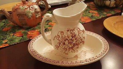 VINTAGE BROWN AND WHITE transfer ware pitcher and bowl.  Small, Old, Nice.