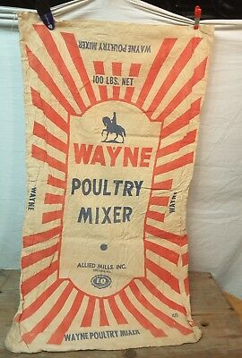 Vintage Cloth Feed Sack WAYNE Poultry Mixer Bag Chicago Illinois Double-sided