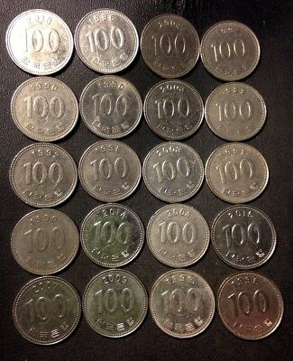 Old South Korea Coin Lot - 100 WON - 20 Great Coins - Lot #D17