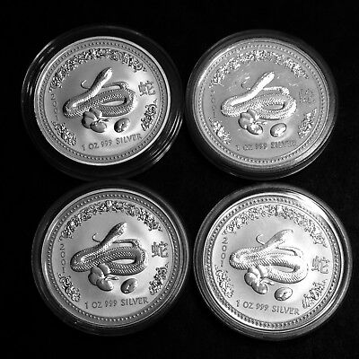 4-2001 Australia Year of The Snake 1 oz. 999 Silver Coins