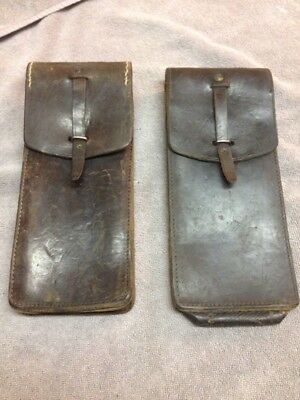 Vintage Pair of French Ammo Leather Pouches