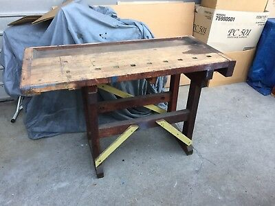 Antique Woodworkers Carpenters Table With Vise