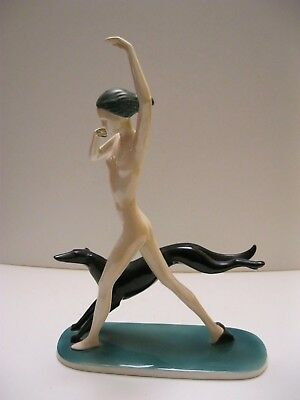 Art Deco porcelain Nude with Borzoi Katzhutte Hertwig & Co. Germany