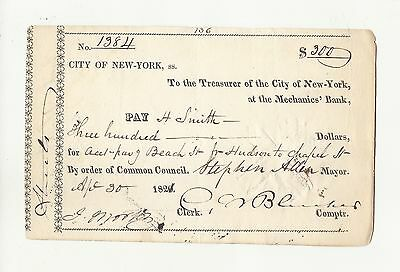 SMITH FAMILY HEIRLOOM..SCARCE 1821. N Y CITY  CHECK TO H SMITH   For   $300