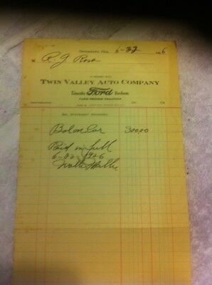 1926 Twin Valley Auto Co Ford Receipt Ross Germantown Ohio Dealer Fordson Car