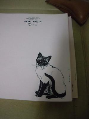 Vintage Old Store Stock Beautiful Pink  Siamese Cat Stationery Nib