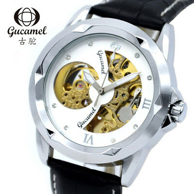 GUCAMEL Fashion Top Brand Mens Automatic Mechanical Leather Strap Hollow Watches