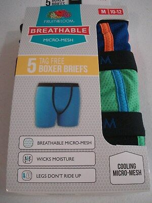 Fruit of the Loom Boys 5 Pack Breathable Micro Mesh Boxer Briefs Size 10/12 NEW