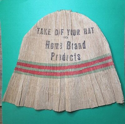 Vintage Advertising Paper Bucket Hat ~ Take Off Your Hat - HOME BRAND PRODUCTS