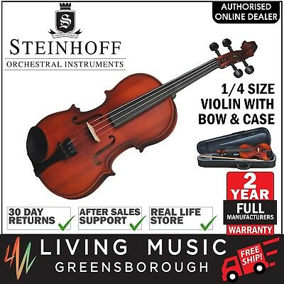 NEW Steinhoff 1/4 Size Student Violin Outfit with Bow & Case (Natural Satin)