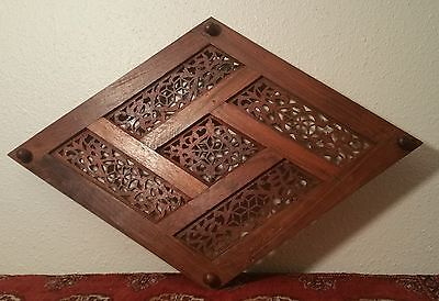 CENTERPIECE vtg hand carved teak trivet dinner table islamic india tribal art