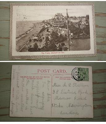 OLD BRITISH POSTCARD, c1910 ENGLAND, VIEW OF WESTCLIFF ON SEA, THE FRONT