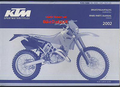 Genuine KTM 125 200 SX MXC EXC SGP GS CYCLE (2002) Parts List Catalog Book AD36
