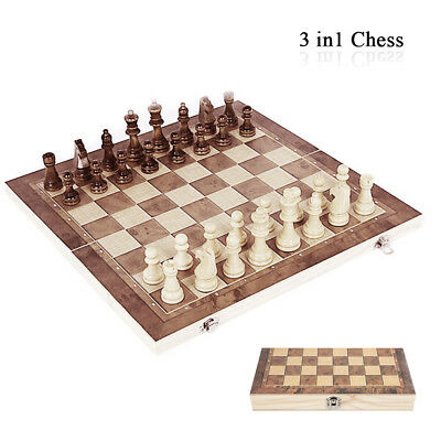 Large 3 in 1 Set Folding Chess Chessboard Board Portable Pieces Wood Kids Game