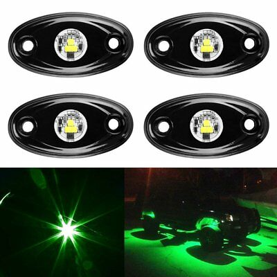 4pcs LED Rock Light JEEP ATV SUV Underbody Glow Trail Rig Lamp Waterproof(Green)