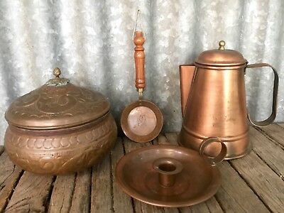 VINTAGE COPPER ITEMS Lot Of 4 Pieces RUSTIC DISPLAY Soho Foundry