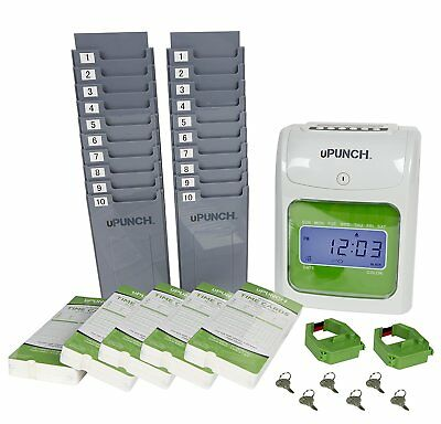 New uPunch HN3500 Electronic Track Record Punch Card Time Clock Bundle System