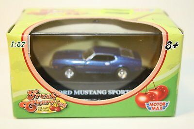 HO Scale 1:87 Motor Max,  Fresh Cherries, Ford Mustang Sportsroof Blue