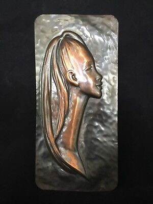 VINTAGE Mid-Century SOLID BEATEN COPPER Wall Hanging Art RETRO FACE