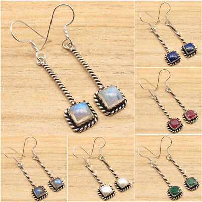 925 Silver Plated Authentic Gemstone LONG ETHNIC Earrings Made In India