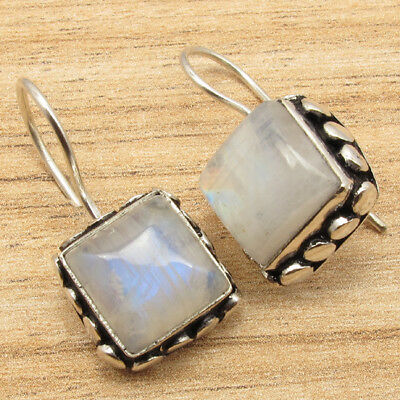 925 Silver Plated Gemstone Jewelry ! Vintage Style Tibetan Earrings ART